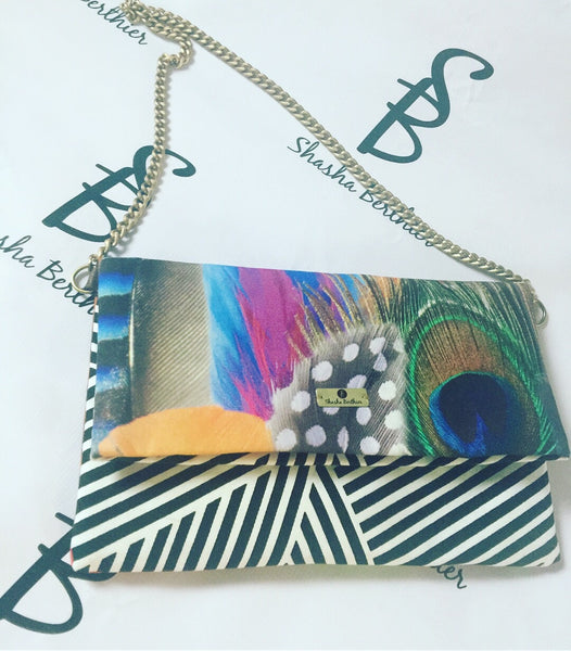 Peacock fold clutch bag with Chain