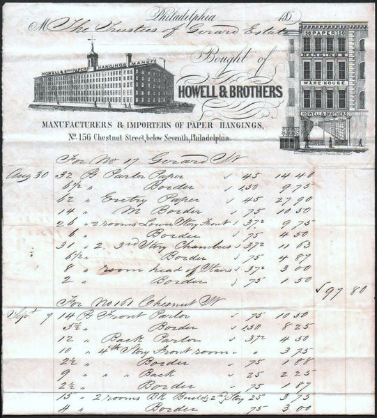 1850 Howell & Bros Billhead