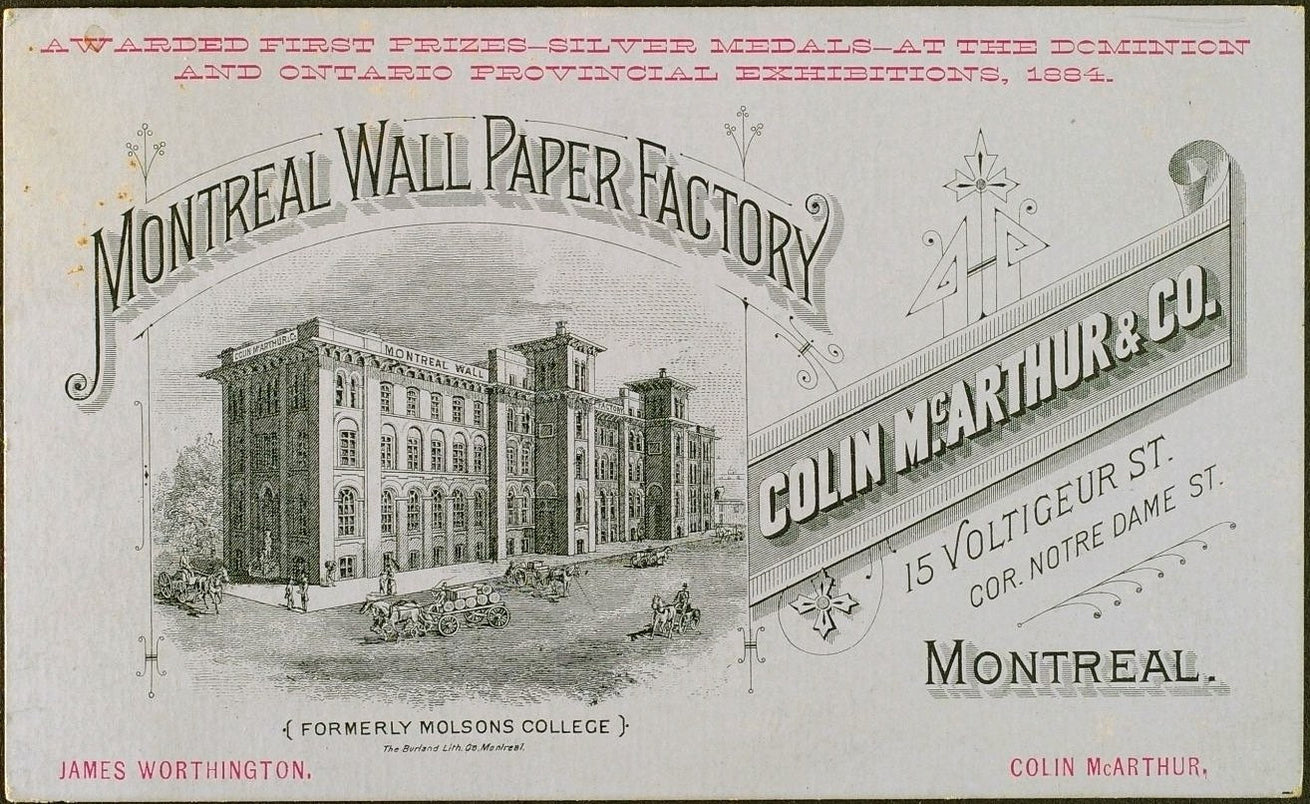 1880s Montreal Wall Paper Factory Trade Card