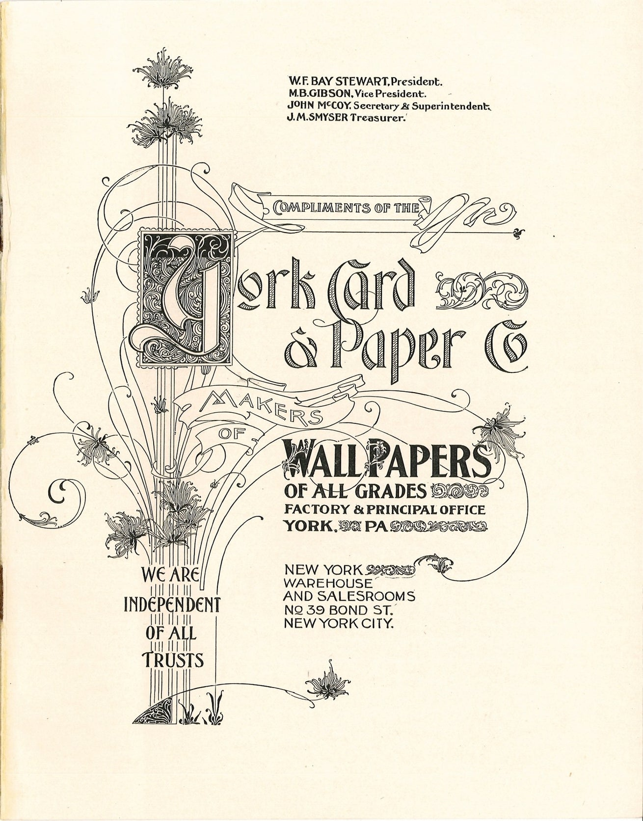 c.1896 York Card & Paper Co Title Page