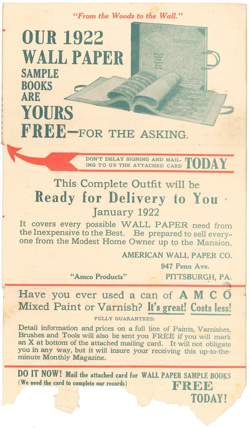 1921 American Wall Paper Company Mailer