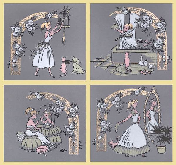 Charming Dressing Room Scene - Polyptych - Mounted Vintage Wallpaper Panels