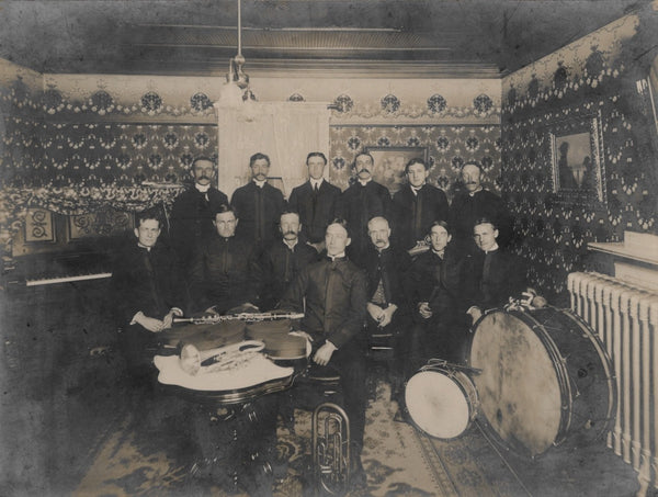 Band in Wallpapered Interior