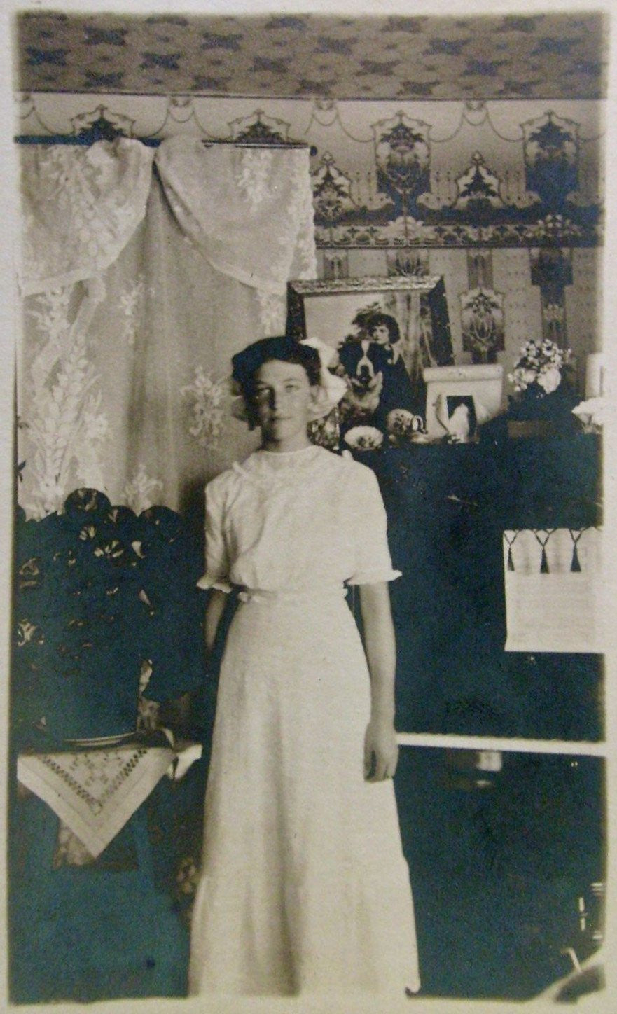Woman in Front of Piano with Wallpaper