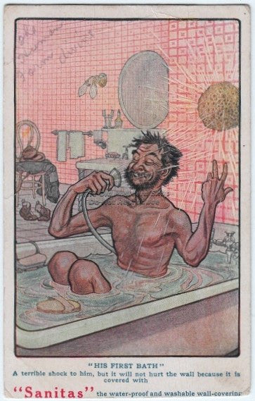 "Sanitas ""His First Bath"" Postcard"