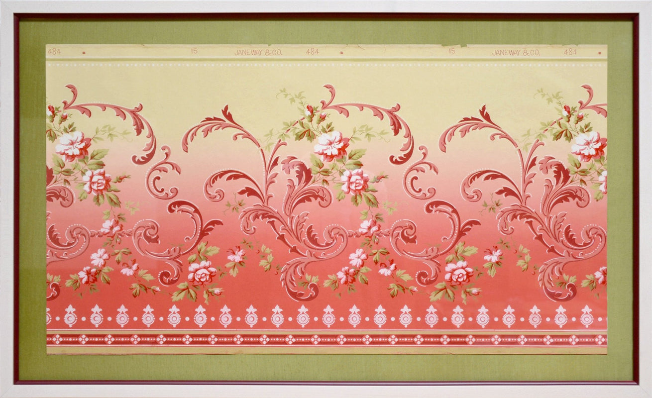 Delicate Blended Empire Floral Frieze - Framed Antique Wallpaper Art