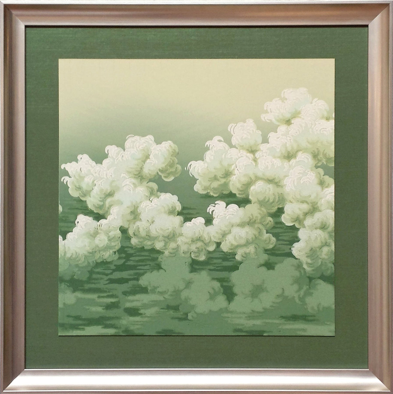 Blended Green Cloud Frieze - Framed Antique Wallpaper Art