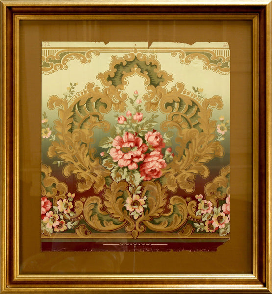 Embossed Gilt Rococo Floral Frieze - Framed Antique Wallpaper Art