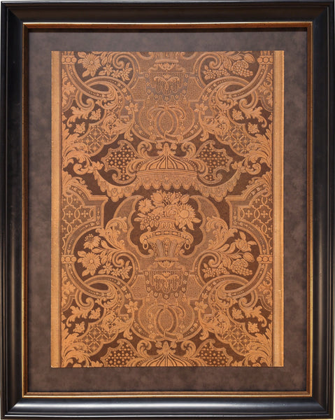 "Hand-Stamped ""Leather"" Sidewall - Framed Antique Wallpaper Art"