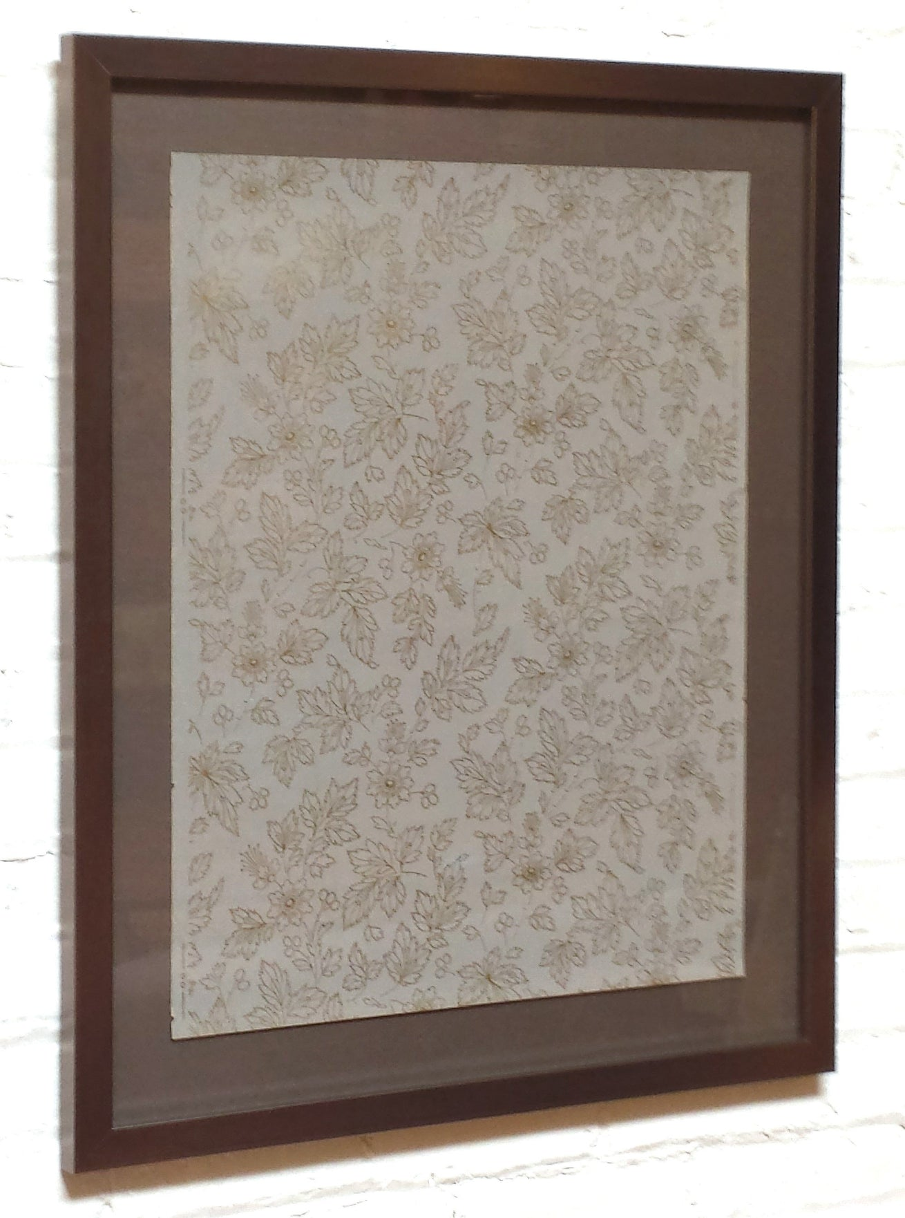 Exquisite Gilt & Grey Floral Sidewall - Framed Antique Wallpaper Art