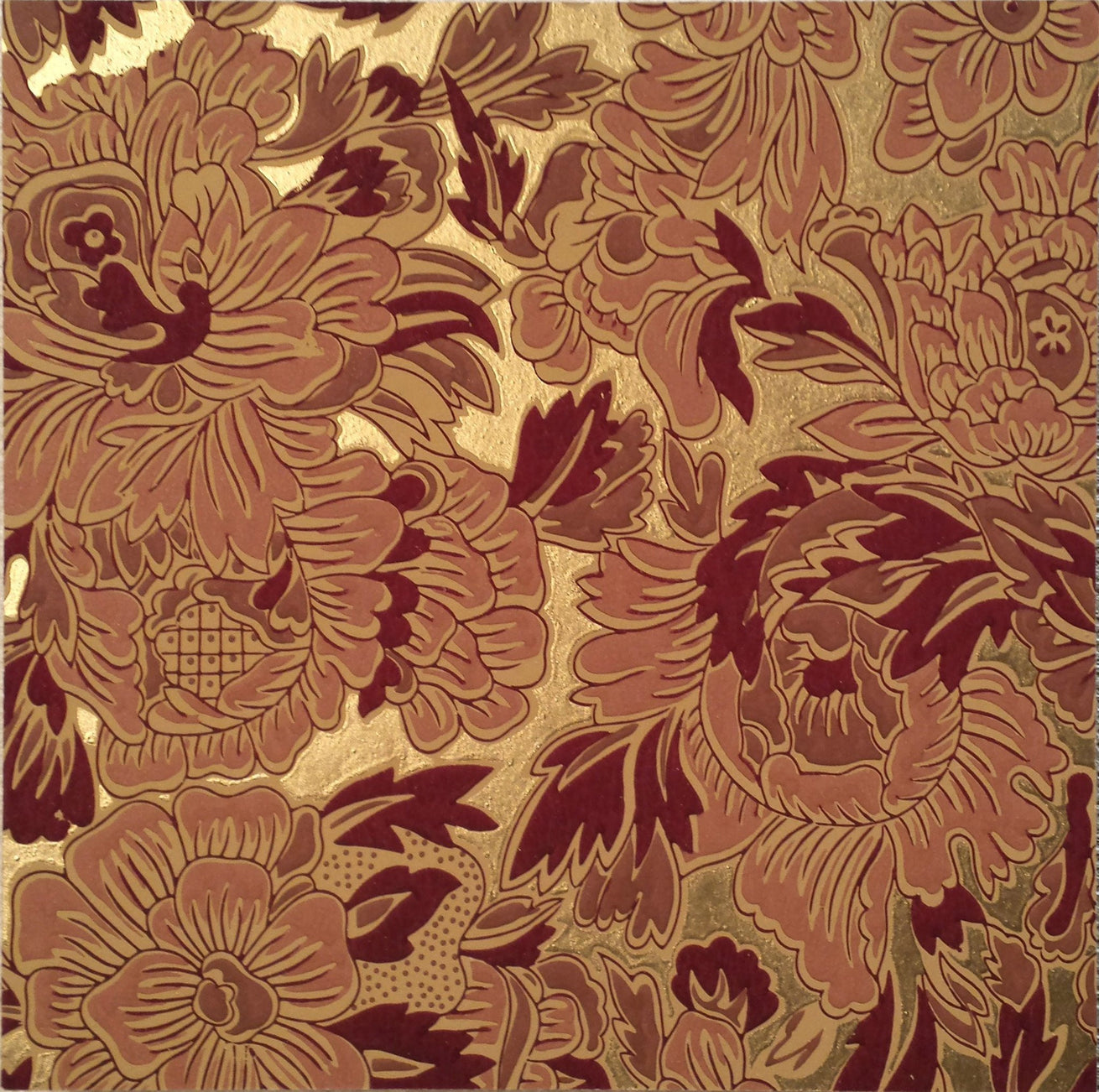 Burgundy Gilt Floral Sidewall - Mounted Antique Wallpaper Panel