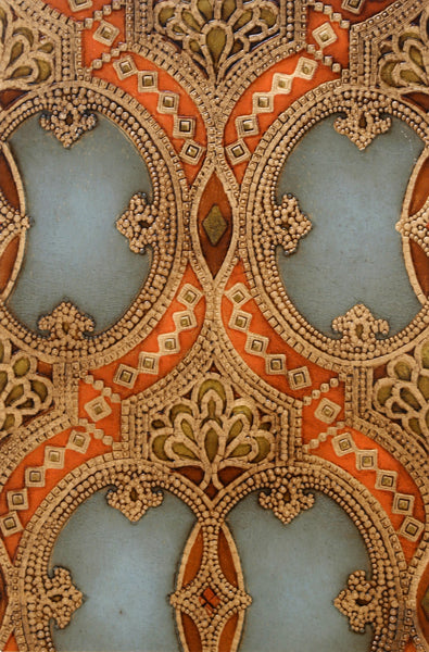 "Tooled Double-Oval ""Leather"" Sidewall - Mounted Antique Wallpaper Panel"