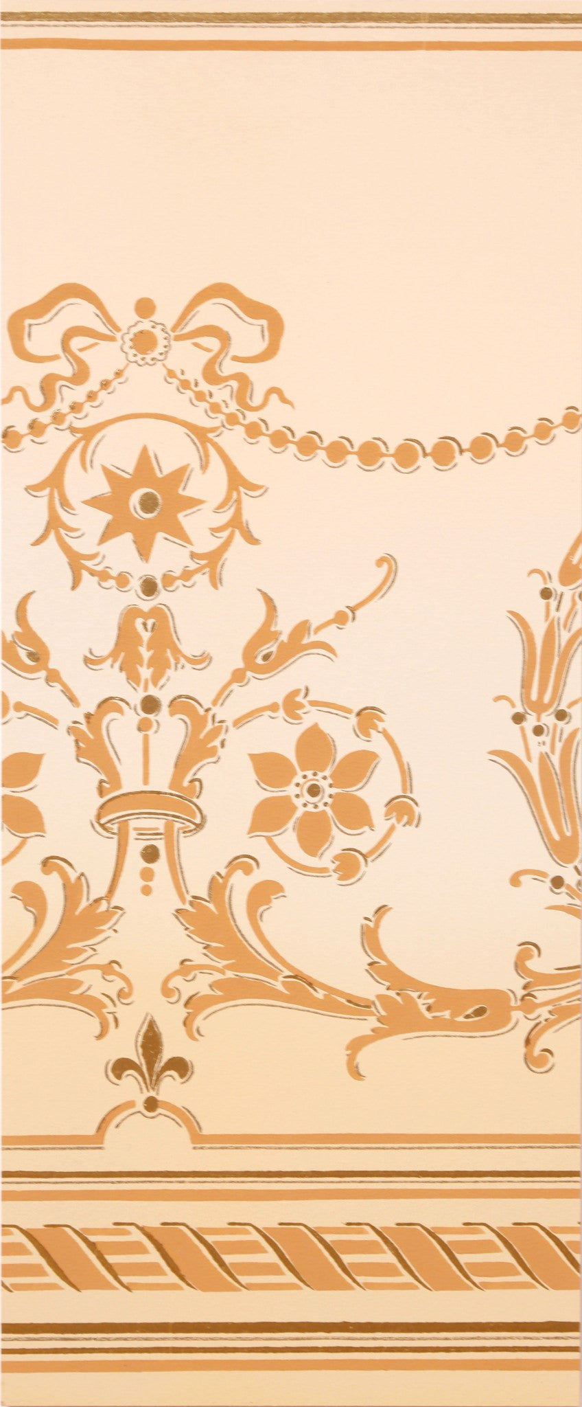 Blended Frieze with Delicate Swags/Florals - Mounted Antique Wallpaper Panel