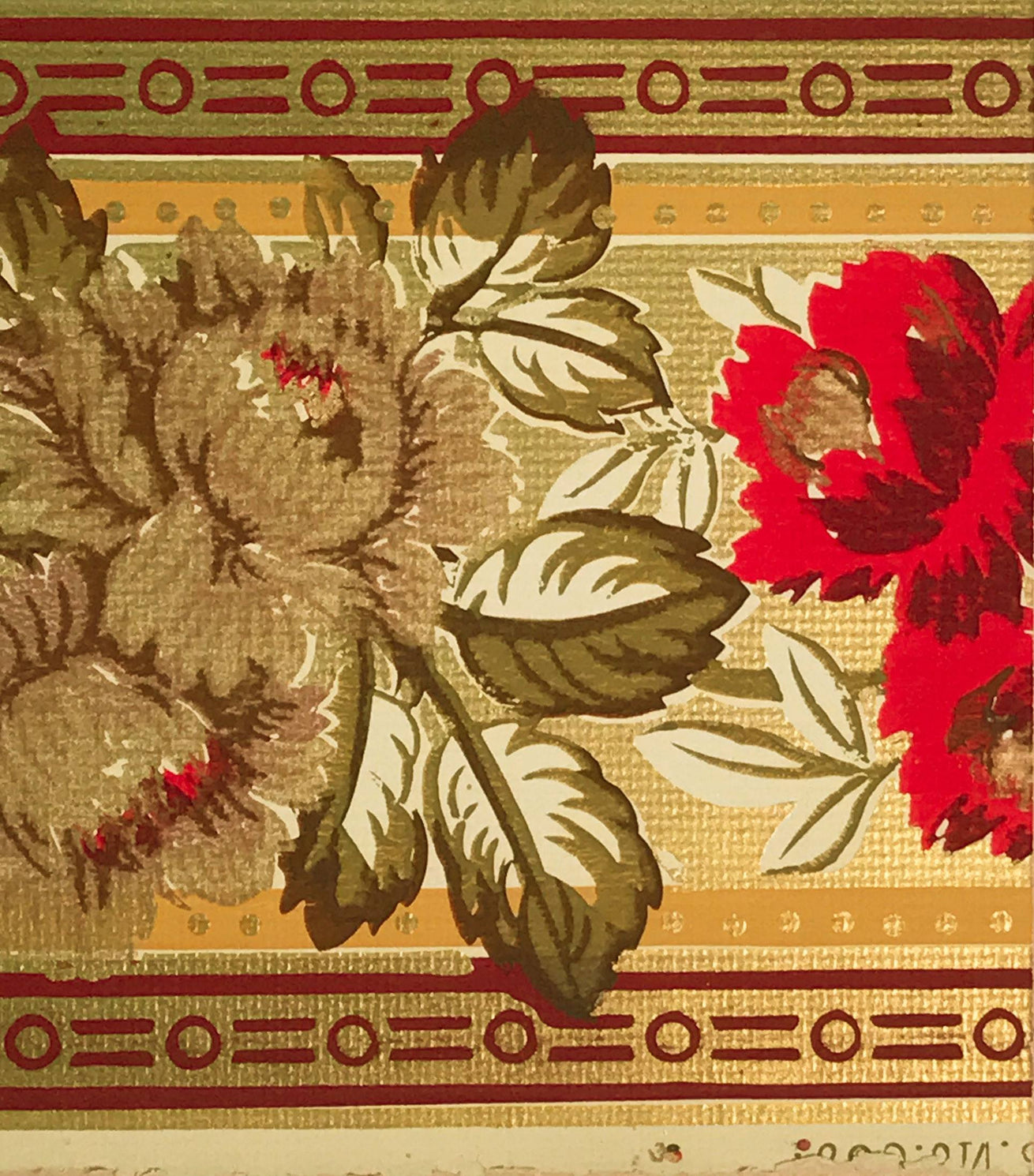 3-Band Gilt Floral Border - Mounted Antique Wallpaper Panel