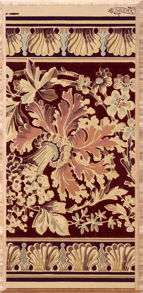 Gilt & Flocked Floral Metallic Border - Mounted Antique Wallpaper Panel