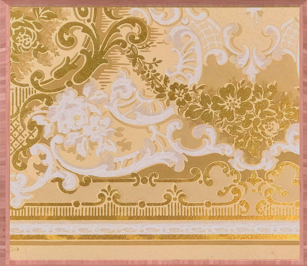 Embossed Gilt Ivory Frieze Fragment - Mounted Antique Wallpaper Panel