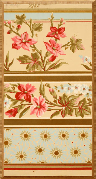 3-Band Aesthetic Movement Border - Mounted Antique Wallpaper Panel