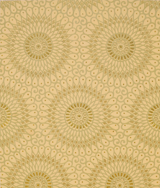 """Spirographic"" Filigree Circles with Flitter - Sold - Mounted Antique Wallpaper Panel"