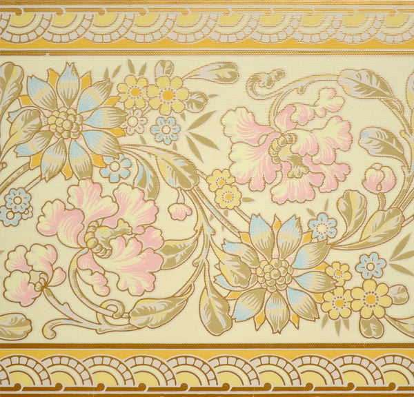 Large Pink/Blue Floral with Gilt Border - Mounted Antique Wallpaper Panel - Sold