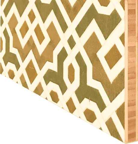 Geometric Metallic Moorish Sidewall - Mounted Antique Wallpaper Panel