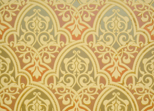 Multi-Metallic Moorish Diaper Sidewall - Mounted Antique Wallpaper Panel-Sold