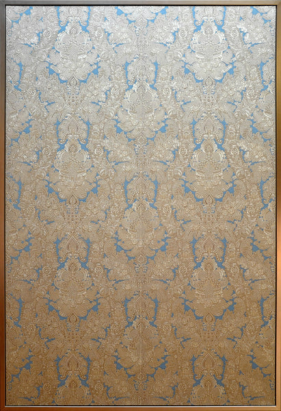 "Silver & Blue Tooled ""Leather"" Sidewall - Framed Antique Wallpaper Art"