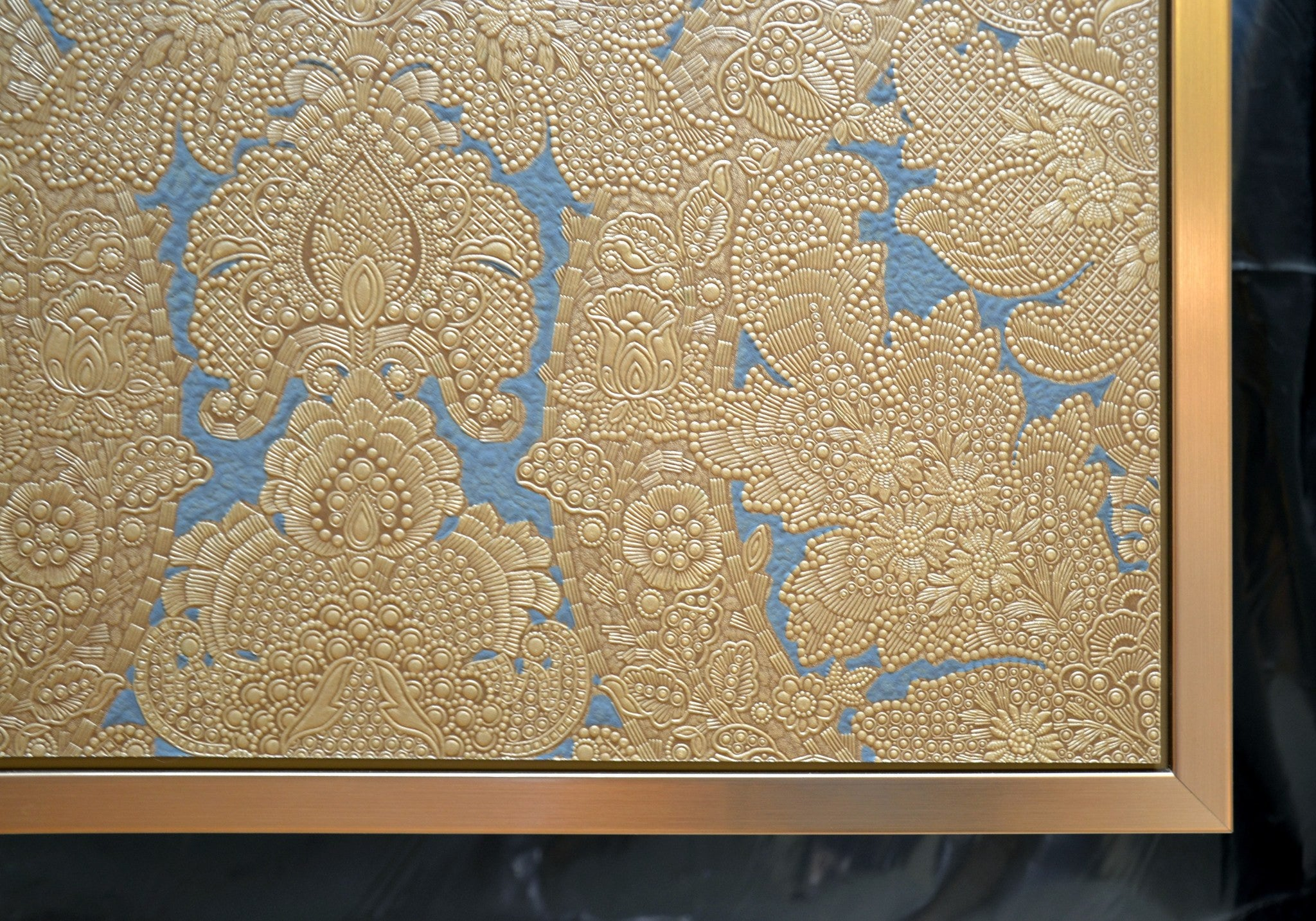 "Silver & Blue Tooled ""Leather"" Sidewall/Antique Wallpaper/Wall Art ..."
