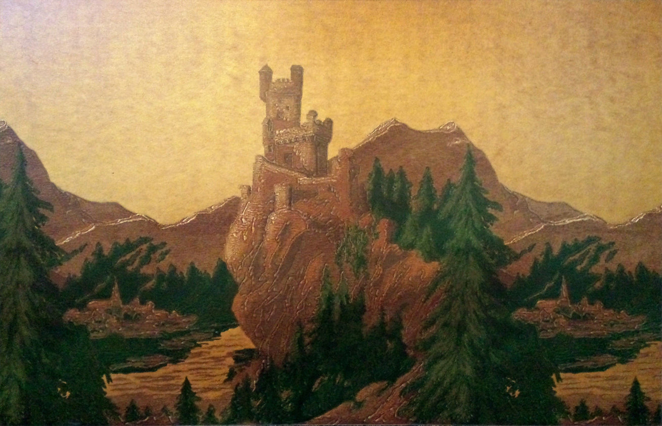 """The Rhine Castles"" Frieze - Framed Antique Wallpaper Art"