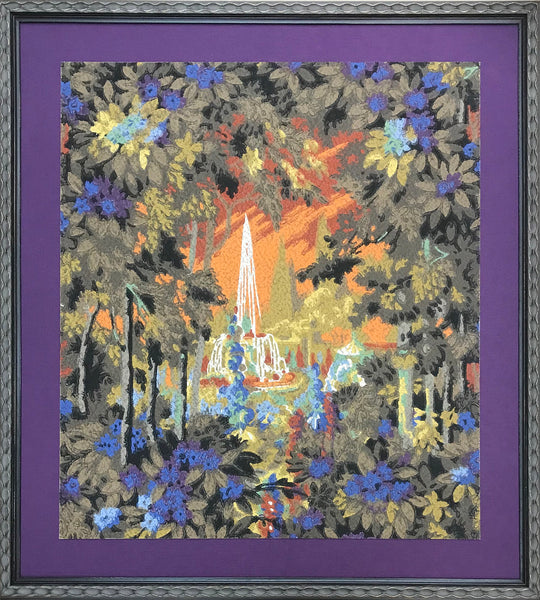 Fiery Fountain - Framed Antique Wallpaper Art - Sold
