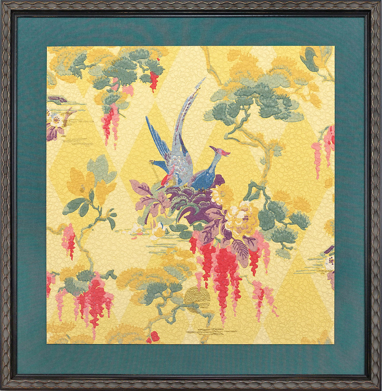 Exotic Birds - Framed Antique Wallpaper Art-Sold