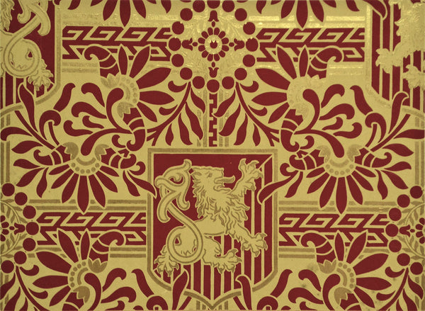 Gilt Heraldic Sidewall with Rampant Lions - Mounted Antique Wallpaper Panel-Sold