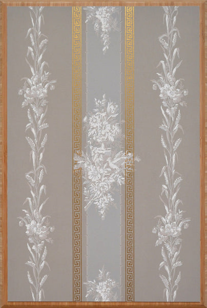 Flowers and Wheat on Gilt Grey Stripes - Mounted Antique Wallpaper Panel