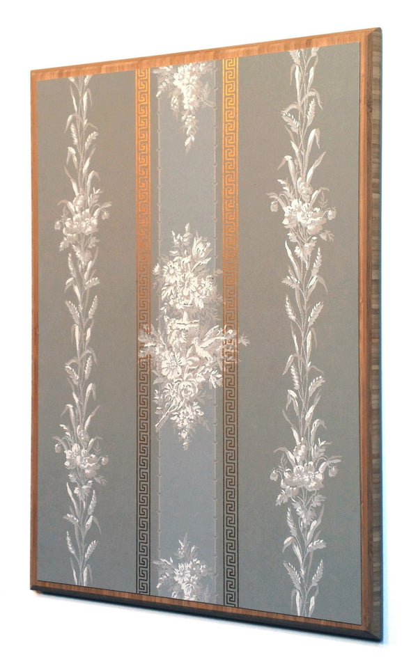 Flowers And Wheat On Gilt Gray Stripes Antique Wallpaper
