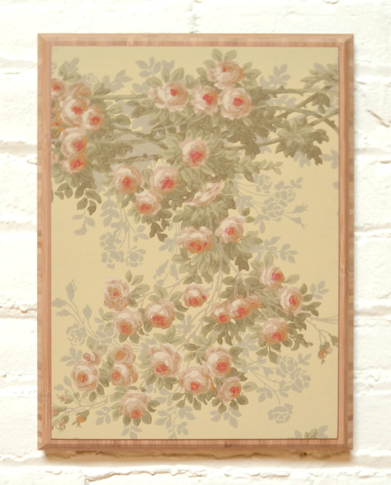 """The Briar Rose"" Intertwining Vine Frieze - Mounted Antique Wallpaper Panel"