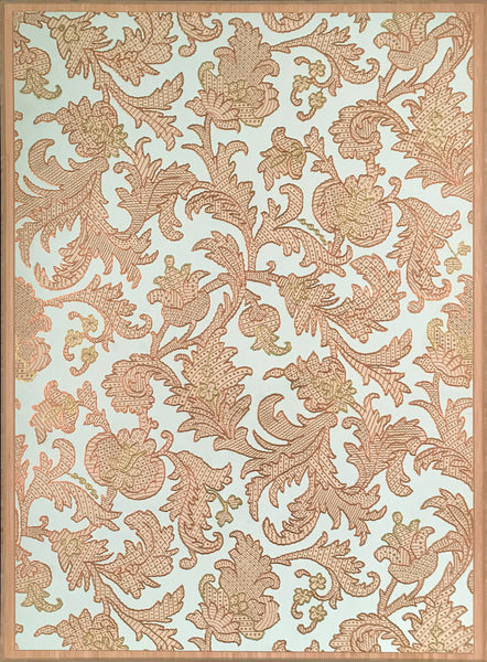 Embossed Copper Gilt Leaf Sidewall - Mounted Antique Wallpaper Panel
