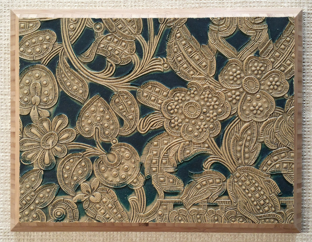 Lincrusta Tooled Leather Fragment - Mounted Antique Lincrusta Panel - Sold