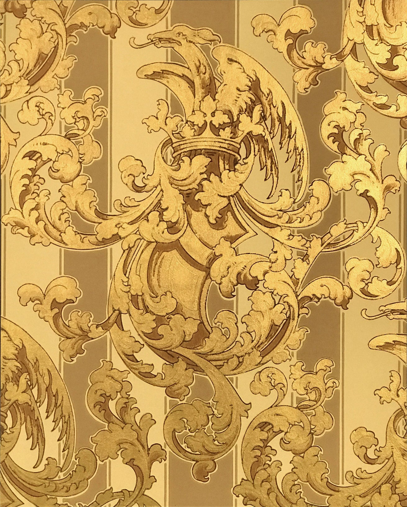 Shield, Crown and Griffin Amid Gilt Scrolls - Mounted Antique Wallpaper Panel