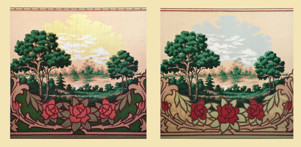 Scenic Mountain, Lake & Clouds Frieze-Diptych - Mounted Antique Wallpaper Panel-Sold