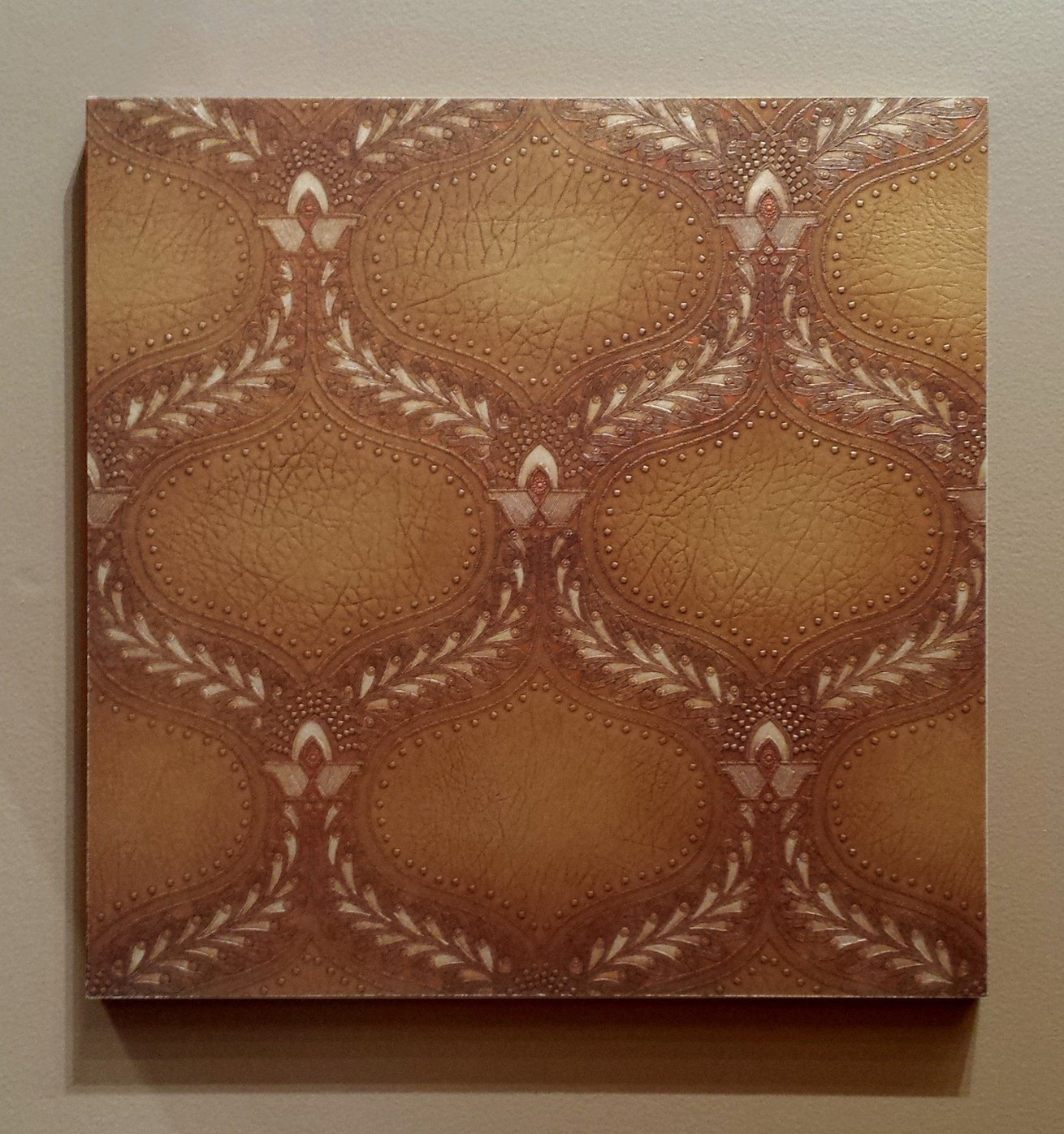 "Hand-Stamped Piscine ""Leather"" Sidewall - Mounted Antique Wallpaper Panel"