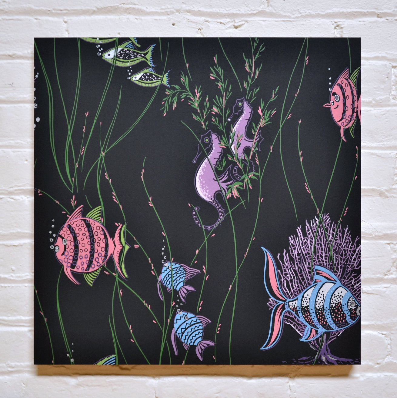 Fishes & Seahorses Bathroom Sidewall - Mounted Vintage Wallpaper Panel-Sold
