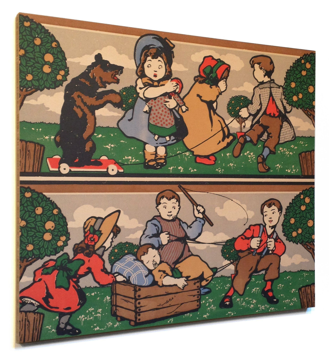 Double Border with Children Playing - Mounted Antique Wallpaper Panel