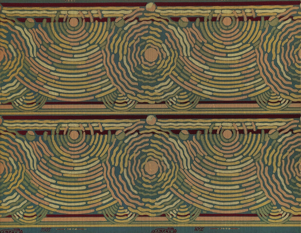 Border 2-Band Concentric Squiggles - Mounted Antique Wallpaper Panel