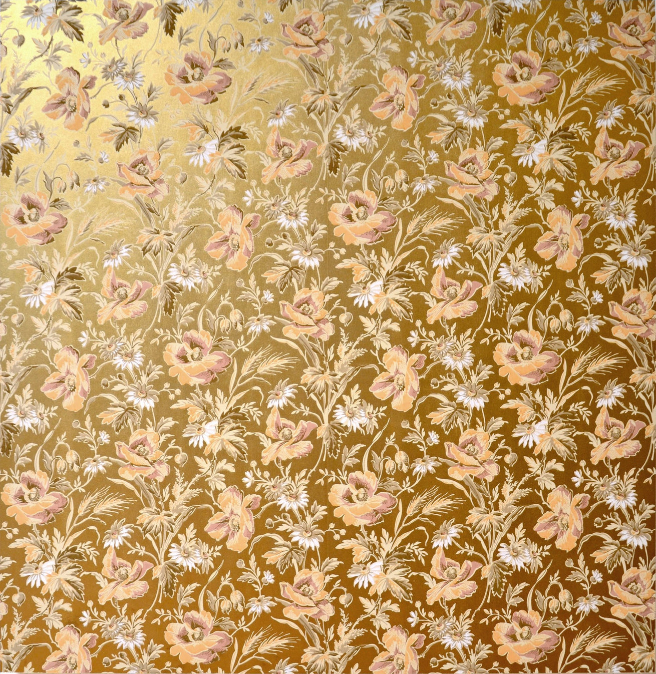 Gilt Sidewall with Wheat & Wildflowers-Custom Mounted Antique Wallpaper Art