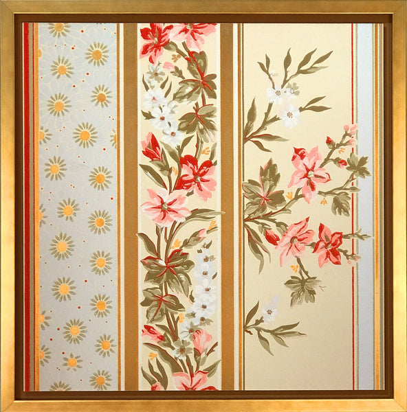 Ceiling border, Aesthetic, Blue, Fuscia, Gilt Floral - Framed Antique Wallpaper Art