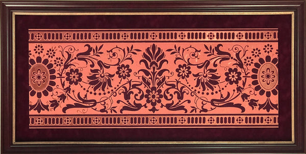 Border: Copper/Terra Cotta Graves - Framed Antique Wallpaper Art