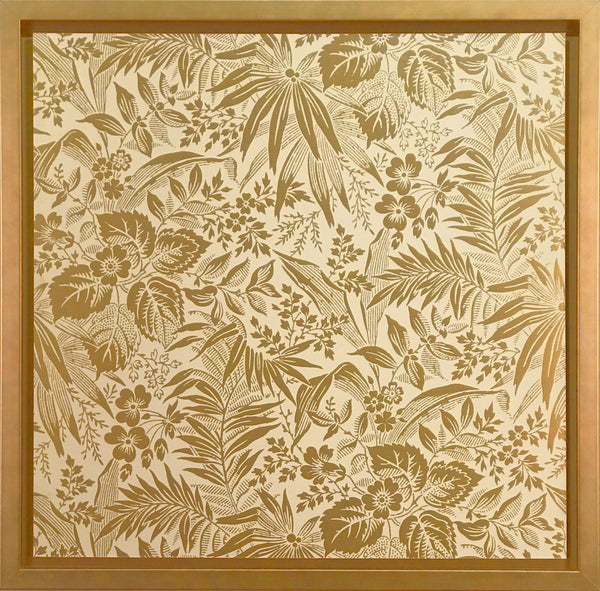 Sidewall: Yellow Gilt - Framed Antique Wallpaper Art-Sold