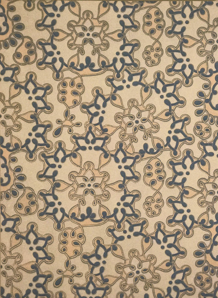 Blue Knots Diptych - Mounted Antique Wallpaper Panels
