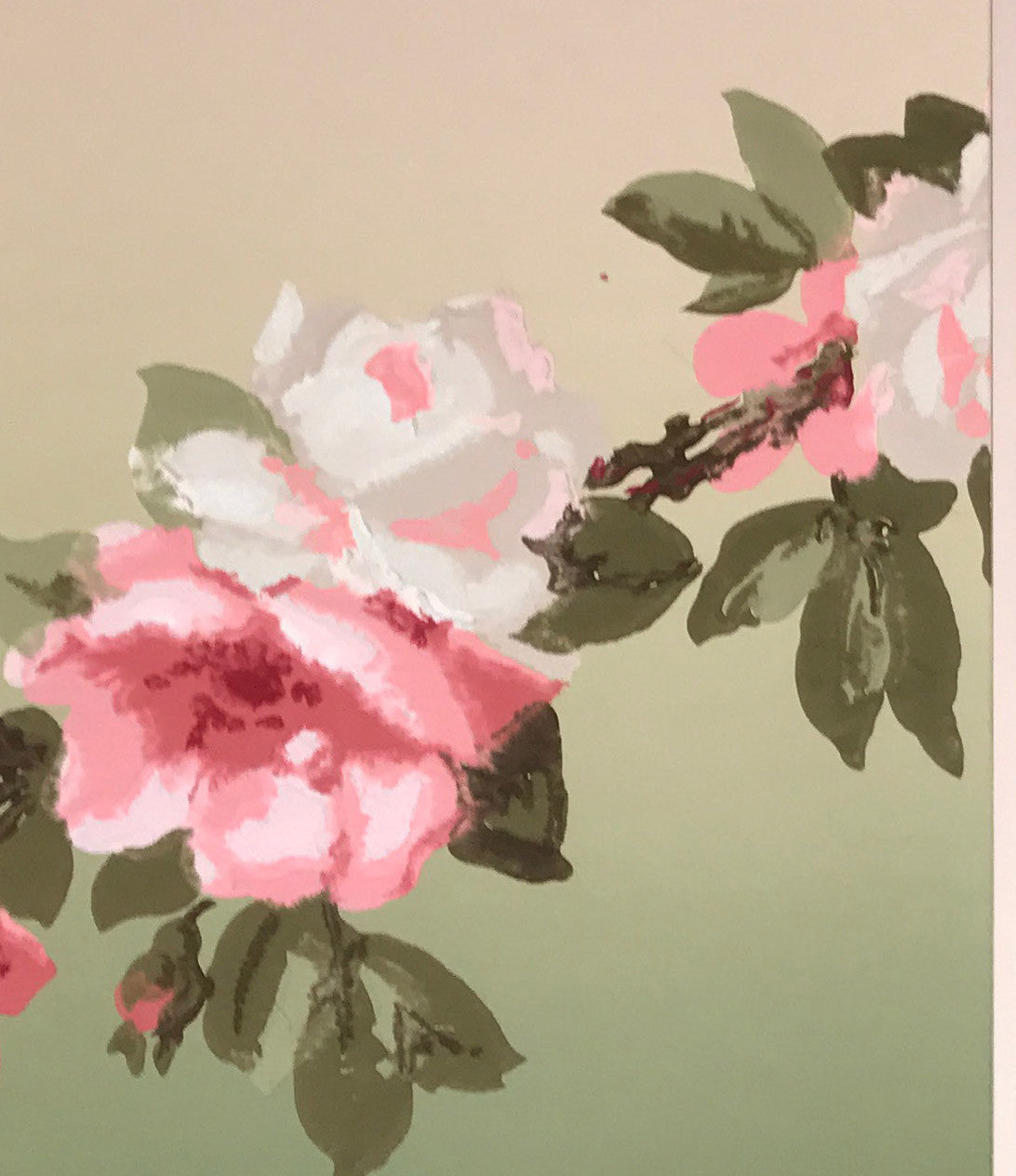 Blended Rose Garland Frieze Fragment-Custom Mounted Antique Wallpaper Art - Sold