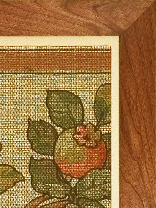 Hawthorn Berry Branches Tapestry Frieze - Framed Antique Wallpaper Art