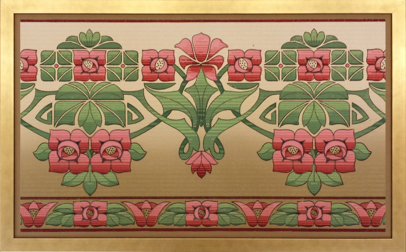 Arts & Crafts Frieze with Stylized Rose - Framed Antique Wallpaper Art